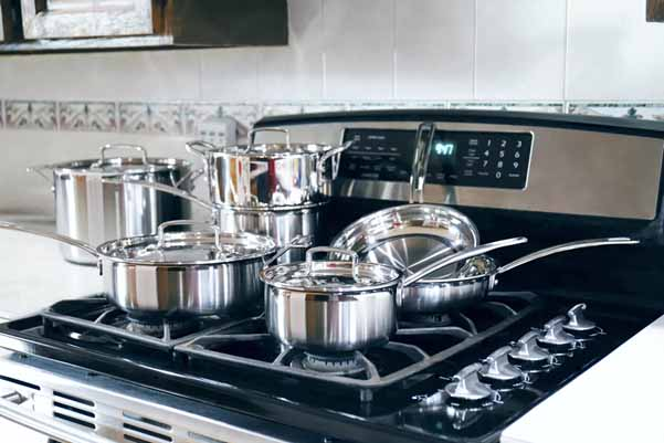 Steel cookware sets pots and pans for gas stove