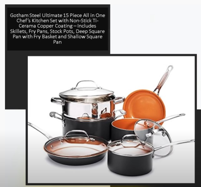 Gotham Steel Ultimate 15 Piece All in One Chef's Kitchen Set for Gas Stove